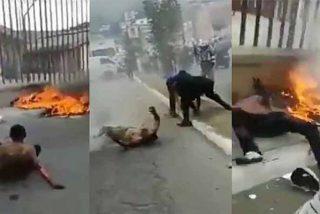 El momento en el que queman vivos a dos sicarios de la pandilla 'Barrio 18' en Guatemala