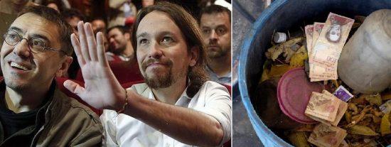 """El vídeo que muestra la 'exitosa' asesoría de Monedero e Iglesias al chavismo: Venezolanos tiran a la basura bolsas de dinero por """"no valer nada"""""""