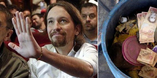 El vídeo que muestra la 'exitosa' asesoría de Monedero e Iglesias al chavismo: Venezolanos tiran a la basura bolsas de dinero por