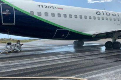 Nuevo 'éxito' chavista: Estallan los neumáticos de un avión antes de despegar por el mal estado de la pista