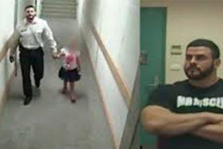 Las cámaras captan a este facineroso de origen iraquí salivando: mete a una niña de 3 años a unas escaleras para violarla