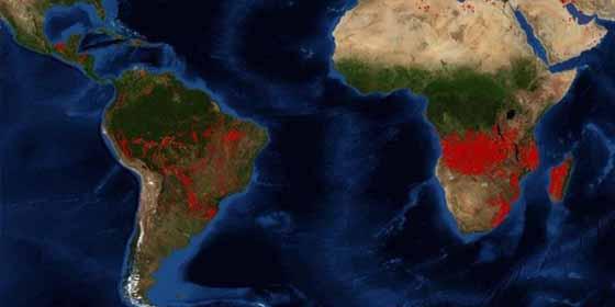 Con imágenes de la NASA: En Africa se producen tres veces los incendios forestales que en Brasil