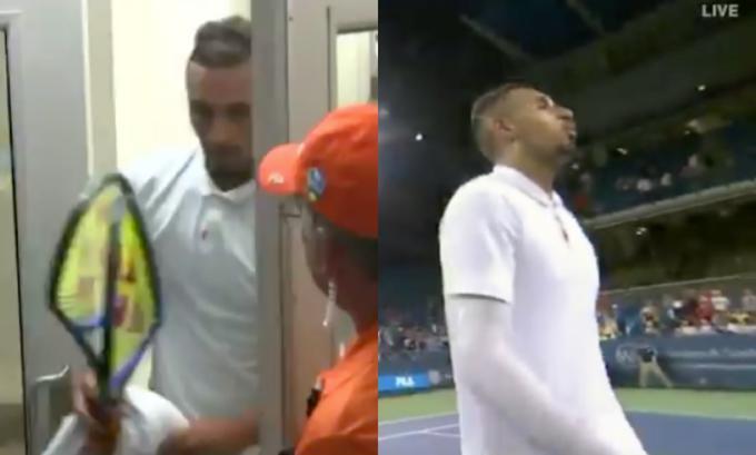 El tenista Nick Kyrgios explota en ira: insultos, raquetas rotas y escupitajo al juez