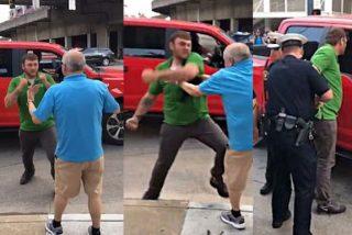 Vídeo: Un fan de Trump golpea salvajemente a un manifestante y la policía lo aplaca
