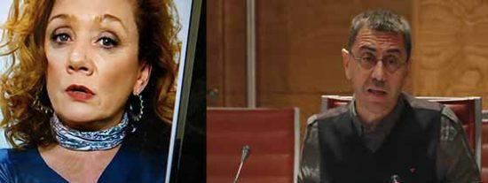 Los podemitas Juan Carlos Monedero y Cristina Fallarás.