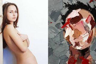 Un sensual talento: Una artista pinta obras de arte con sus senos