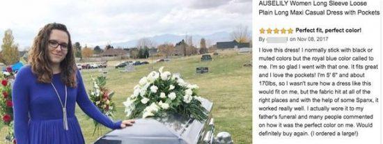 Posa junto al ataúd de su padre para mostrar el vestido que compró online