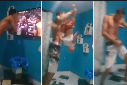 Zarandea a su hijo por los aires: Así celebró un entusiasta fan del Flamengo un gol de su equipo