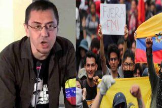 Así celebra el retorcido gallinero comunista español las protestas en Ecuador (ojito a las asesorías)