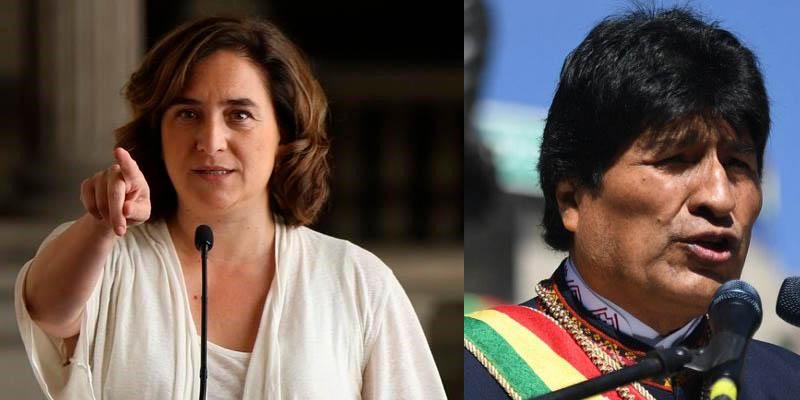 """La inepta Ada Colau llama a """"actuar ya"""" a favor del fraudulento Evo Morales, mientras Barcelona sucumbe ante el caos independentista"""
