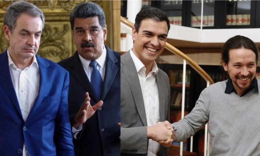 """Destrozan a Zapatero en las redes tras celebrar el acuerdo PSOE-Podemos: """"La meretriz de Maduro""""; """"el amigo de los dictadores""""; y """"excremento de político"""""""