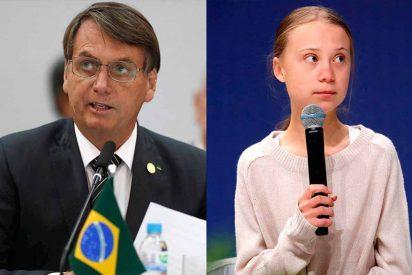 """Jair Bolsonaro 'no se corta' y arremete contra """"la mocosa"""" Greta Thunberg"""
