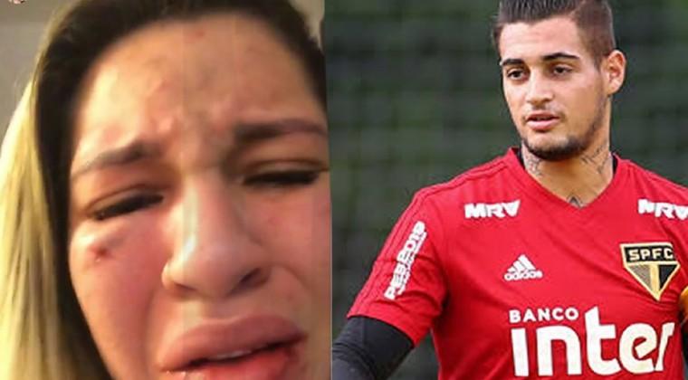 """La pareja de un futbolista se graba segundos después de ser agredida por el deportista: """"alguien que me ayude"""""""
