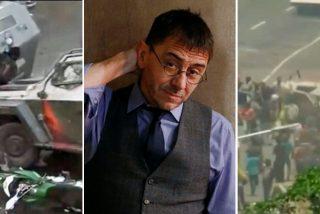Monedero, mudo por los arrollamientos de la policía chavista pero histeria por los de Chile